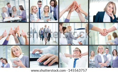 Collage of images young team working together in business - stock photo