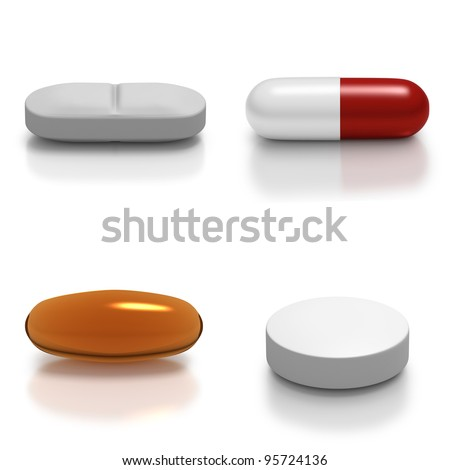Collage of individual types of medication such as tablet, gel, capsule - stock photo