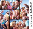 Collage of joyous guys and girls having fun at party - stock photo