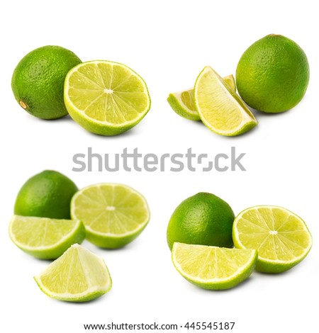 Collage of juice lime on white background - stock photo