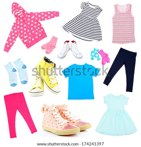 Collage of kids clothing isolated on white - stock photo