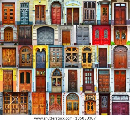 Collage of Kiev front doors - stock photo