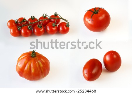 Collage of 4 kinds of tomatoes on white background - stock photo