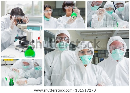 Collage of laboratory workers experimenting and researching - stock photo