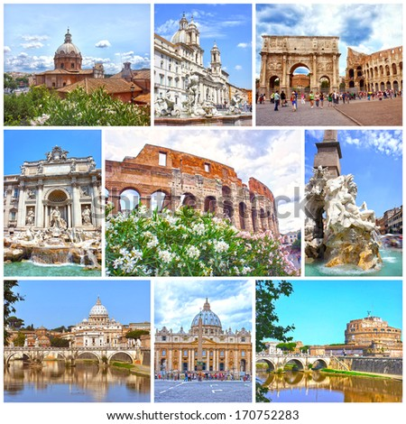 Collage of landmarks of Rome. Arch of Constantine, Colosseum, Piazza Navona, Vatican, Saint Peter cathedral, Castle and bridge Saint Angel, Fountain di Trevi - stock photo