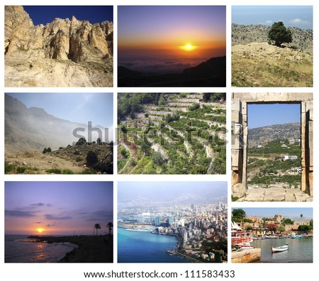 Collage of 9 Lebanon images showing nature and cities - stock photo