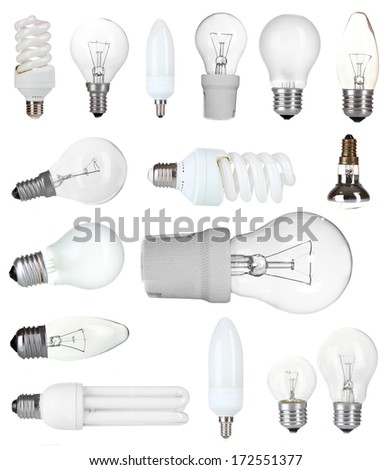 Collage of light bulbs isolated on white - stock photo