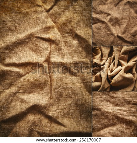 Collage of linen fabric - stock photo