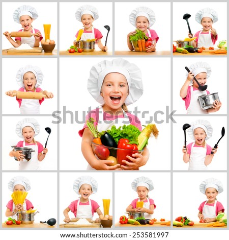 collage of little cute girl in chef's hat with fruit and vegetables in the kitchen preparing a meal on a white background - stock photo