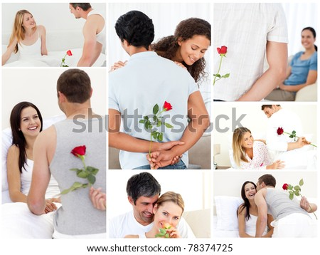 Collage of lovely couples enjoying the moment - stock photo