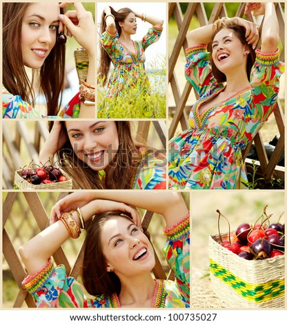 Collage of lovely girl in country clothing relaxing outdoors - stock photo