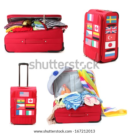 Collage of  luggage for travel - stock photo