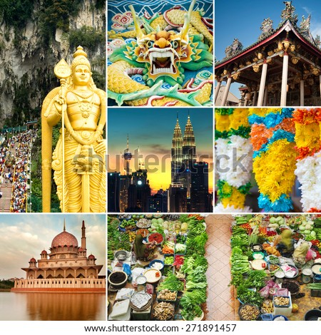 Collage of Malaysia attractions and landmark. All picture belongs to me. - stock photo