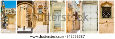 collage of Maltese sights and traditional symbols - stock photo