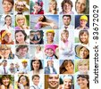 collage of many different happy human faces of modern people - stock photo