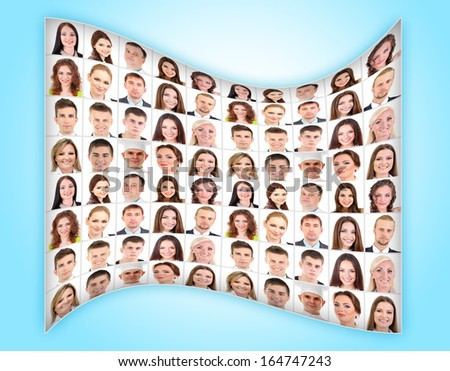 Collage of many different  human faces on blue background - stock photo