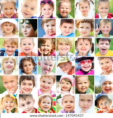 collage of many faces of children - stock photo