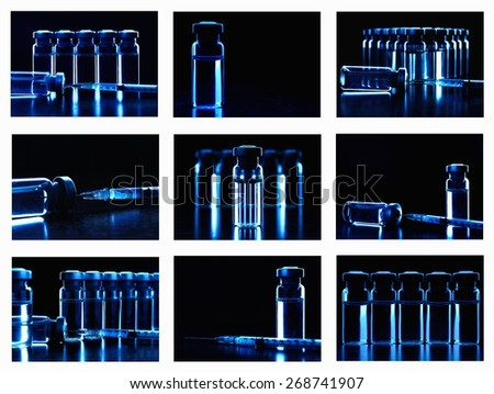 Collage of many images with vials of medications. Dark blue. - stock photo