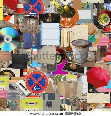 Collage of many object (all pictures in the collage are mine) - stock photo
