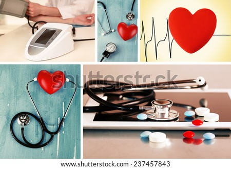 Collage of medical images. Cardiology concept - stock photo