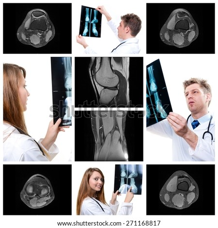 collage of medical imaging with beautiful young doctors - stock photo