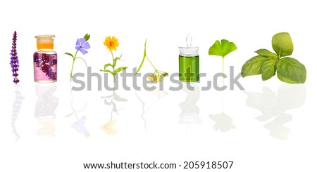 Collage of medicine bottles and herbs, isolated on white - stock photo