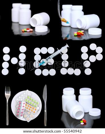 Collage of medicine- pills bottle,infusion set, hands with syringe syringes. - stock photo