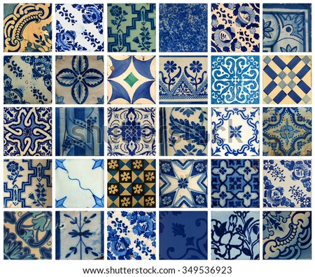 Collage of more than 30 different blue patterns tiles in Lisbon, Portugal - stock photo