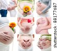 Collage of my pregnancy photo - stock photo