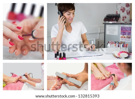 Collage of nail salon situations with manicures pedicures and reception desk - stock photo