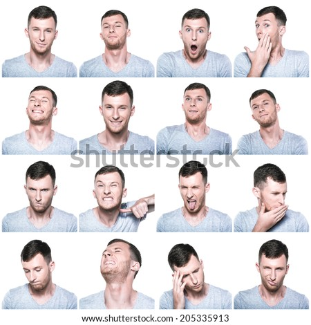 Collage of negative and positive face expressions - stock photo