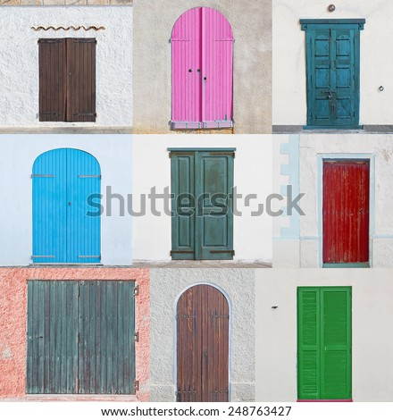 collage of nine colored wooden doors - stock photo