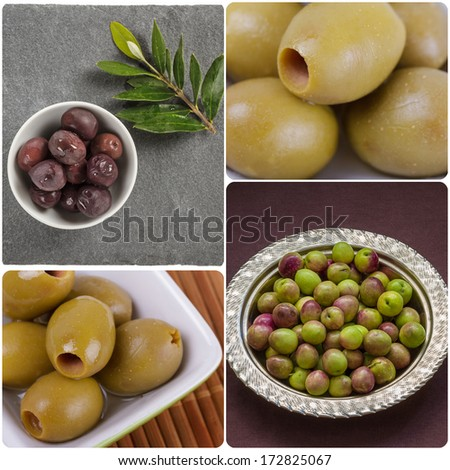 Collage of Olives - stock photo