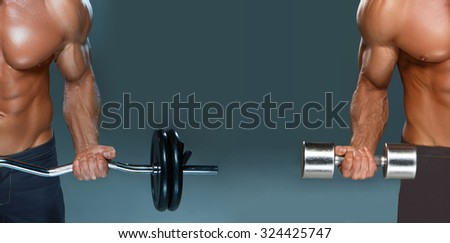 collage of one handsome power athletic man bodybuilder doing exercises with dumbbell and barbell on dark background - stock photo