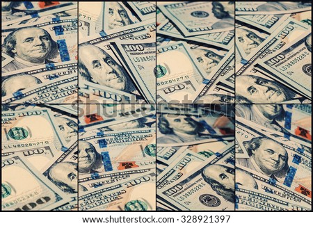 Collage of One hundred dollars pile as background. Creative business finance making money concept - Vintage retro effect filtered hipster style image of new 100 US dollars - stock photo