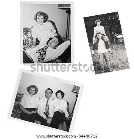 Collage of original photos from the 1940's.  Friends and family together. - stock photo