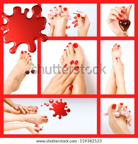 Collage of pedicure process - red manicure and pedicure - stock photo