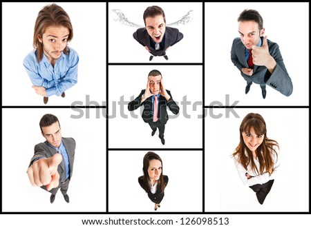 Collage of people doing funny expressions - stock photo
