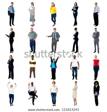 Collage of people from various continents. Mostly business and fashion concept. - stock photo