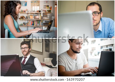 collage of people using notebook connecting - stock photo