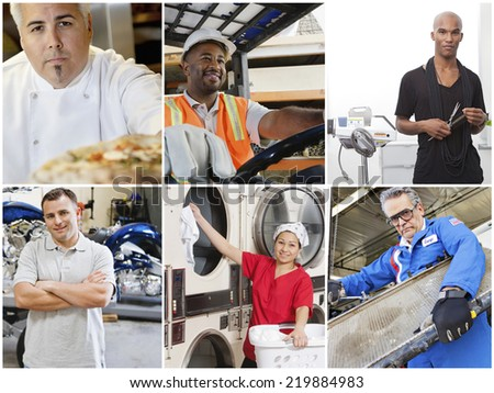 Collage of people with different occupations - stock photo