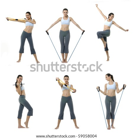 Collage of Photo of young woman exercising yoga and exercising with expander - stock photo