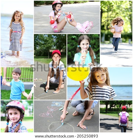 Collage of photo with children playing outside - stock photo