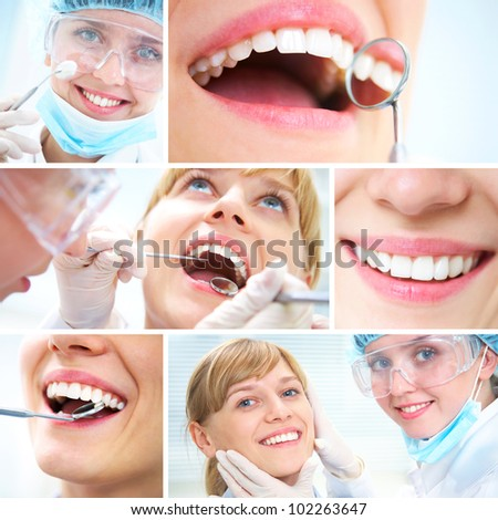 collage of photographs on the theme of healthy teeth and Dental doctor - stock photo