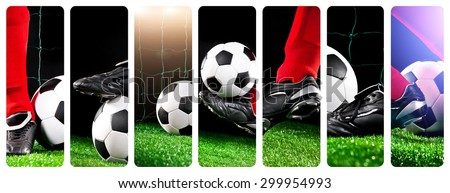collage of photos foot soccer ball with his feet on the football field - stock photo