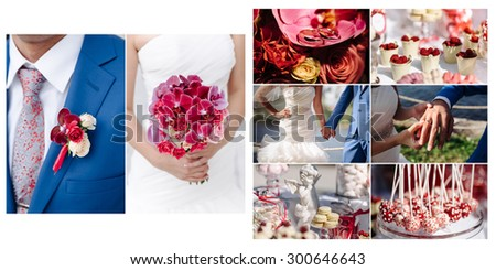 collage of photos from the wedding bouquet boutonniere bride groom rings wedding dress suit - stock photo
