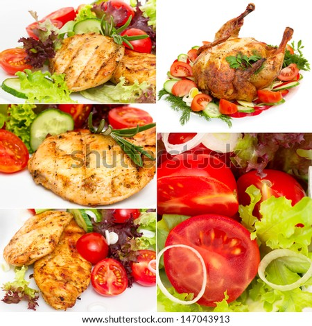 collage of photos grilled chicken with vegetables - stock photo