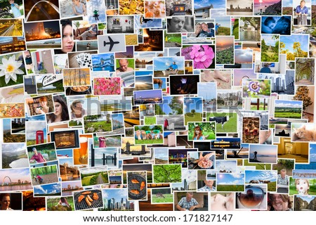Collage of photos of a persons life in 6x4 ratio - stock photo