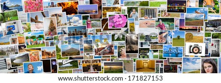 Collage of photos of a persons life in 3x1 ratio - stock photo