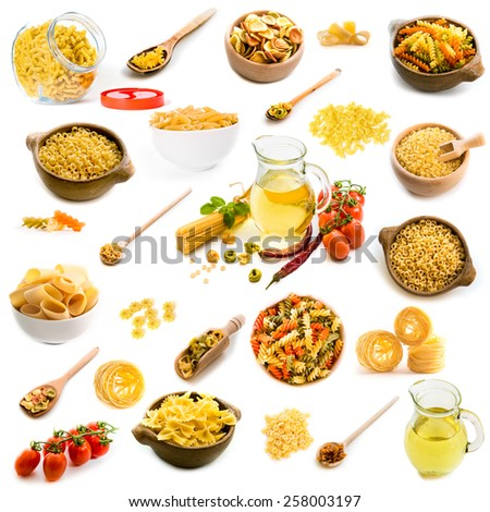 Collage of photos of different shapes of pasta in a variety of dishes on a white background - stock photo